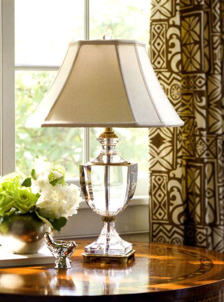 Solid Crystal Table Lamp With Antiqued Brass Trim Has Octagonal Piped Fabric Shade