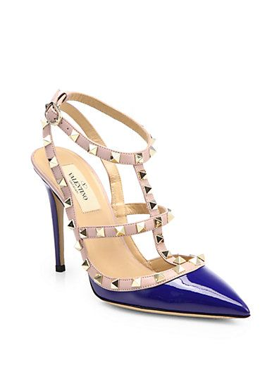 a3d41e816432 Valentino - Rockstud Patent Leather Ankle Strap Pumps in China Blue  945