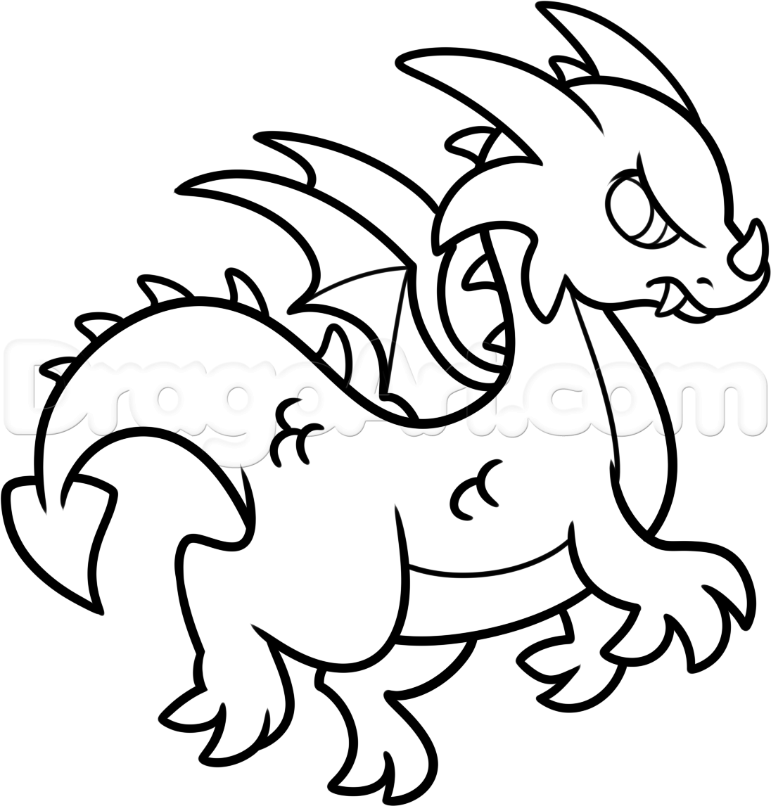How To Draw A Simple Dragon Step 8 In 2019 Cartoon Dragon
