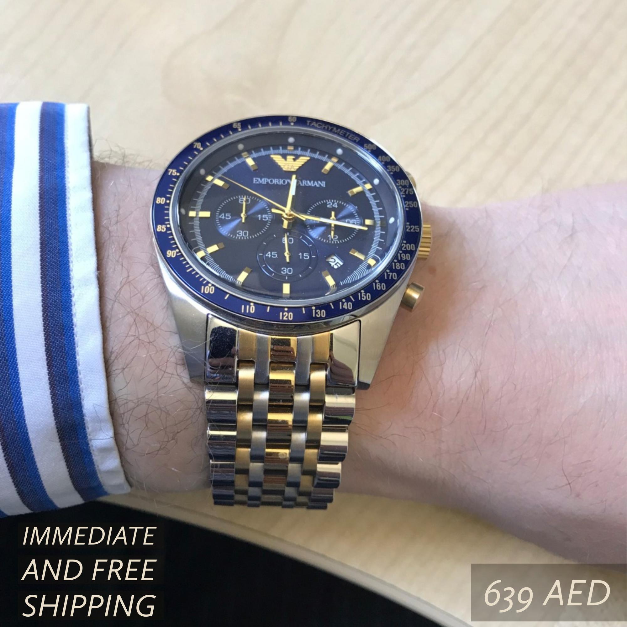هدايا العيد ساعه أرماني رجالي Ar6088 شحن فوري ومجاني فقط 639 درهم Armani Stainless Steel Dial Chronograph For Men S Ar6088 Omega Watch Accessories Watches