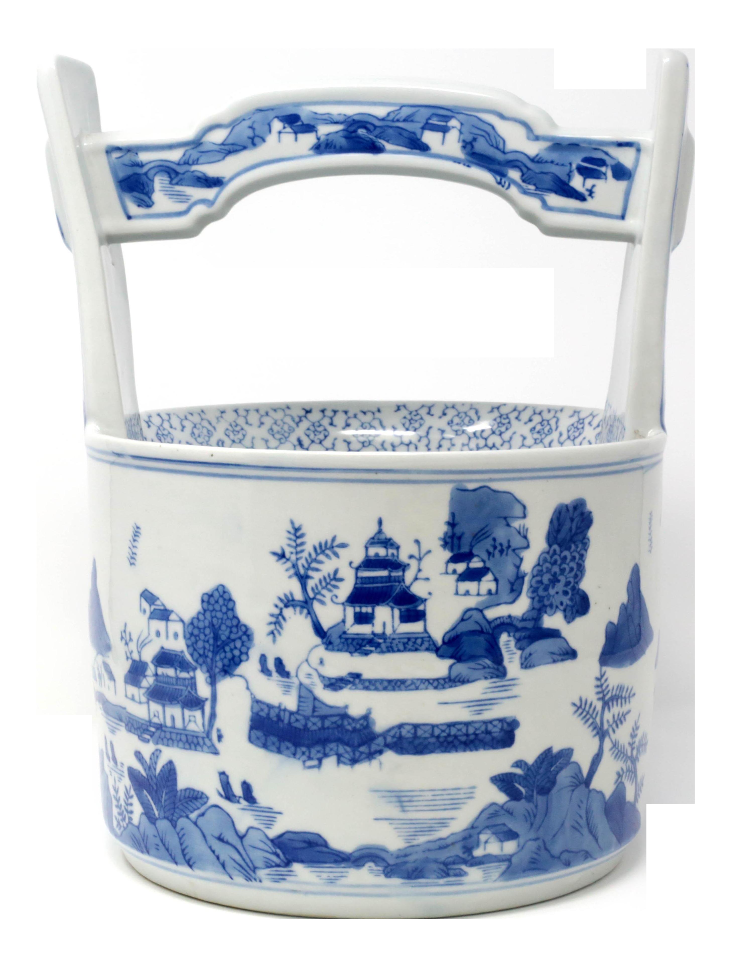 Blue And White Chinese Ceramic Wishing Well Planter