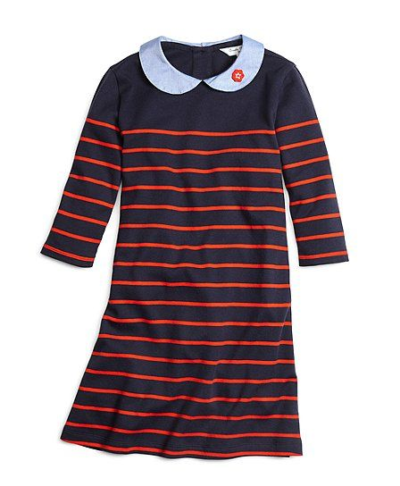 This rugby dress is crafted from soft cotton; the rounded collar is made extra-sweet with an embroidered flower at the point. The stripe design and elbow length sleeves complete this look. Machine wash. Imported.