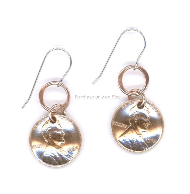 55th Birthday Gift Jewelry Penny Earrings Coins 1963 Copper Dangle Metal Unique Gifts For Women By Wvworksjewelry On Etsy Coin