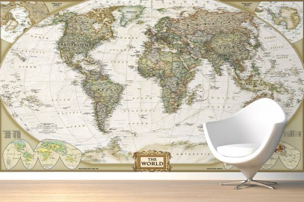 Traditional old style world map wall mural muralswallpaper world executive poster sized wall map tubed world map national geographic reference map a book by national geographic maps reference gumiabroncs Images
