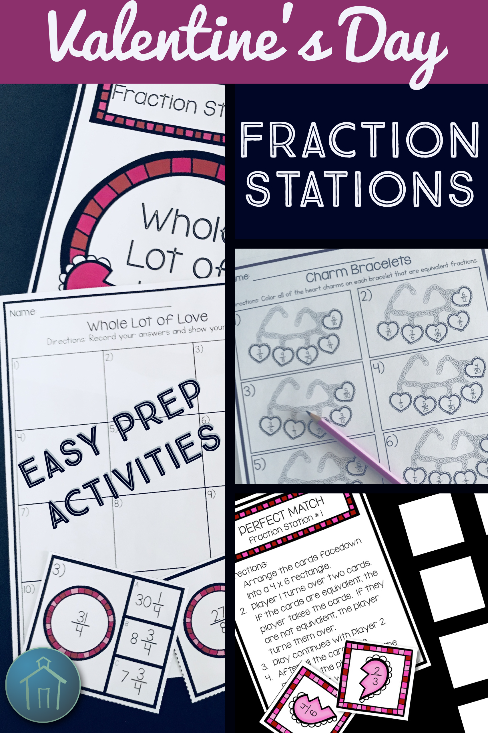 Valentine\'s Day Math Fraction Station Activities | Simplifying ...