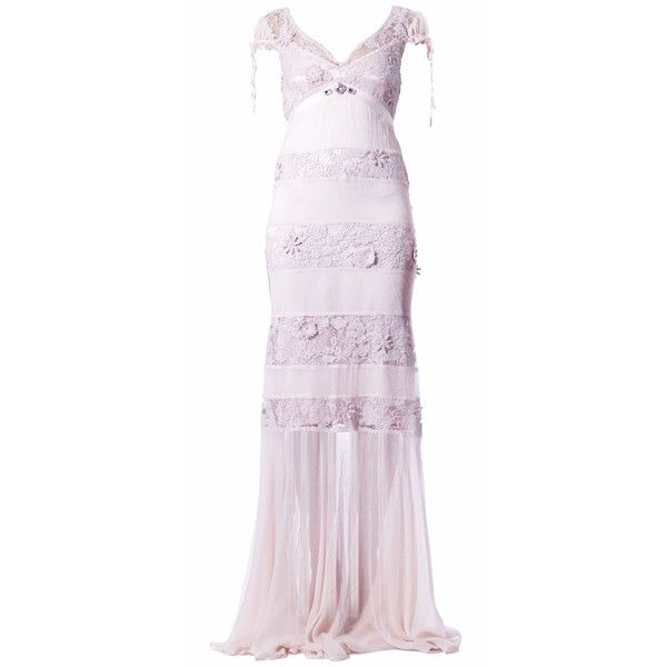 Elena Perseil Blush Silk And Lace Evening Gown ($1,079) ❤ liked on Polyvore featuring dresses, gowns, blush, lace evening gowns, long fitted dresses, pink lace dress, pink ball gown and lace dress