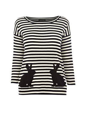Warehouse Stripe rabbit jumper Black - House of Fraser