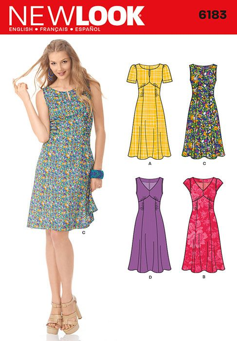 Misses Retro Style Dress New Look Sewing Pattern No. 6183. Size 10-22.