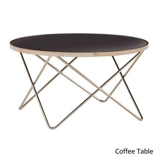 Gabe Champagne Gold Finish Hairpin Leg Accent Tables With Black Glass Top By Inspire Q Bold Coffee Glass Top Table Inspire Q Coffee Table Dimensions