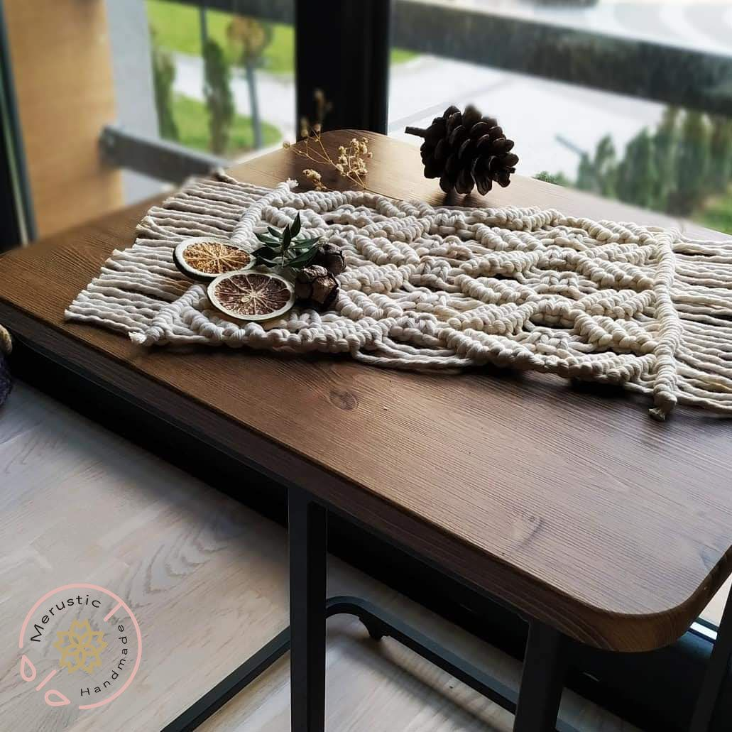 Beige Macrame Coffee Table Centerpiece Modern Macrame Table