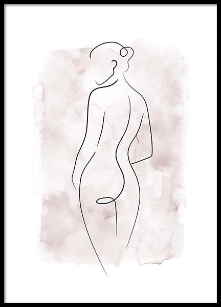 Watercolor Body Lines No1 Poster