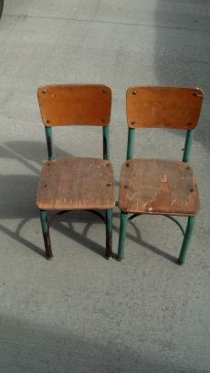 vintage wood and metal children's chairs