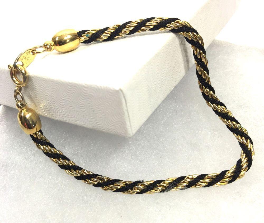 1f3f1ce18dda1 Vintage 1990's Signed Trifari Gold Tone Black Rope Twist Bracelet 7 ...