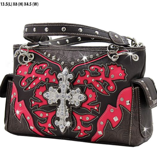 *+TOP+QUALITY+LEATHERETTE+MATERIAL  *+TWO+COMPARTMENTS+MAGNETIC+CLOSURE  *+DOUBLE+SHOULDER+CHAIN+AND+LEATHERETTE+STRAP  *+FRONT+RHINESTONE+ORNAMENT  *+TWO+SIDE+POCKETS  *+BACK+CONCEALED+WEAPON+ZIPPER+POCKET  Specification  MEASUREMENTS+13+(L)+X+8+(H)+x+5+(w)