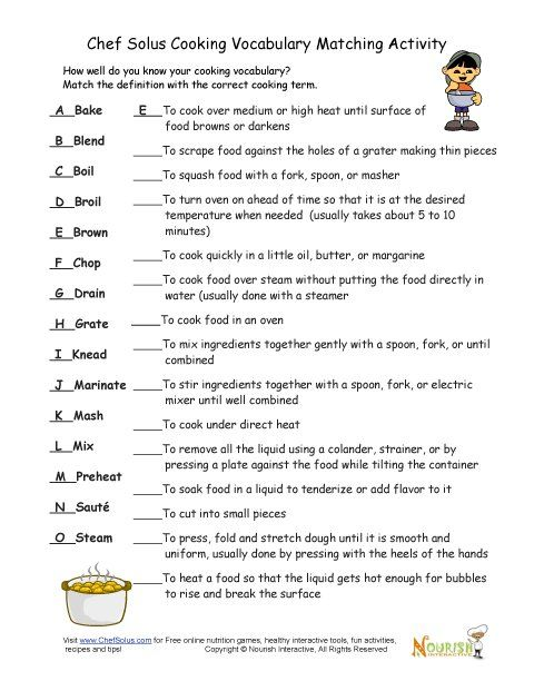 Cooking Vocabulary Definition Matching Exercise Cooking Classes For Kids Culinary Lessons Culinary School