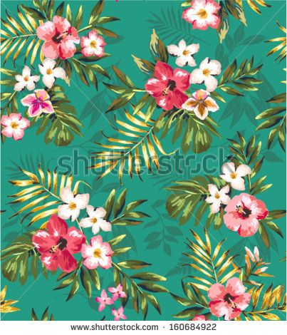 Hand Draw Tropical Flower Blossom Cer Green Pattern Background Stock Vector