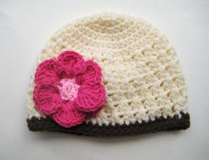 Fall Beanie With Flower Crochet Pattern All Sizes From Newborn To