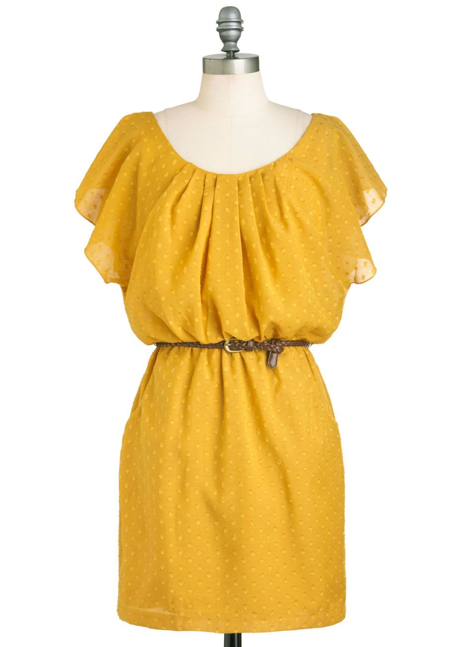 Images of Casual Yellow Dress - Reikian