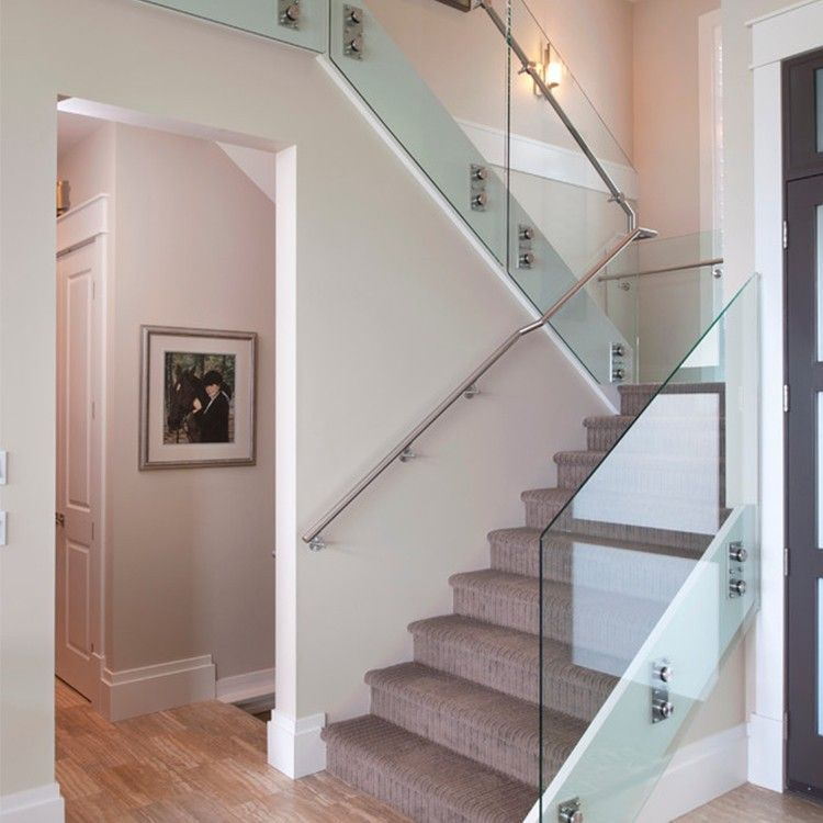 Custom Design Stainless Steel Tubular Glass Clear Stair Handrail   Tubular Design For Stairs   Stainless Steel   Fully Covered Balcony Grill   Fabrication   Simple   Industrial