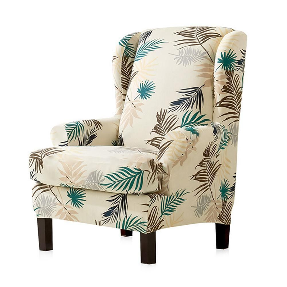 Sloping Arm King Back Chair Cover Elastic Armchair Wingback Wing Sofa In 2020 Wingback Chair Slipcovers Arm Chair Covers Slipcovers For Chairs