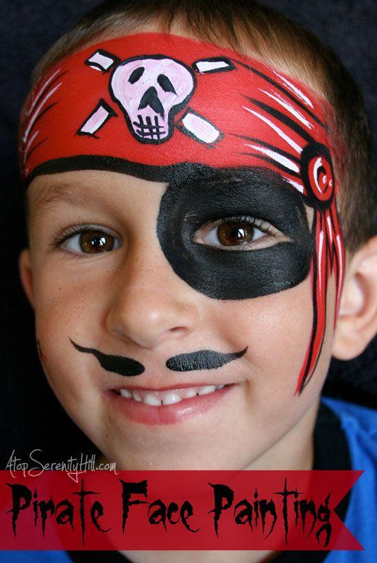 Halloween Gesichter Kinderschminken.Pirate Facepainting Schminkanleitung Kinder Schminken Kinderschminken
