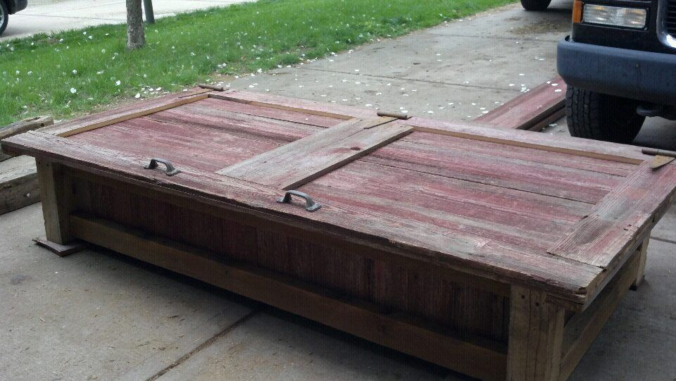 Last Spring We Built This Barn Door Coffee Table For Someone 39 S Screened In Porch It Opens Up To