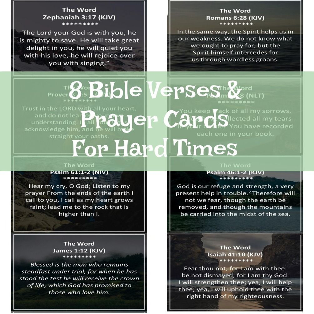 Bible Quotes For Hard Times In Life: 8 Bible Verses & Prayer Cards For Hard Times