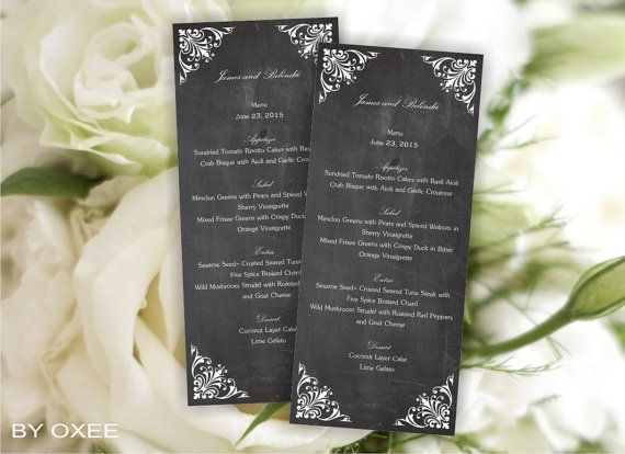 Printable Wedding Personal Menu Template Black Chalkboard By Oxee