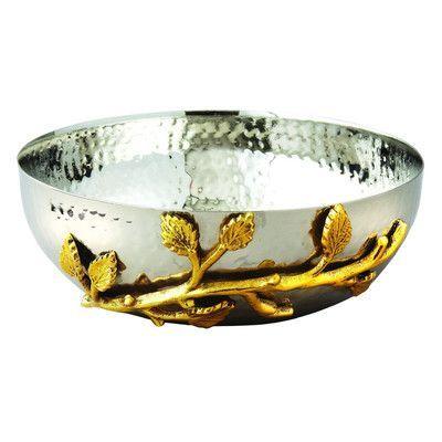 Heim Concept Gilt Leaf Hammered Serving Bowl