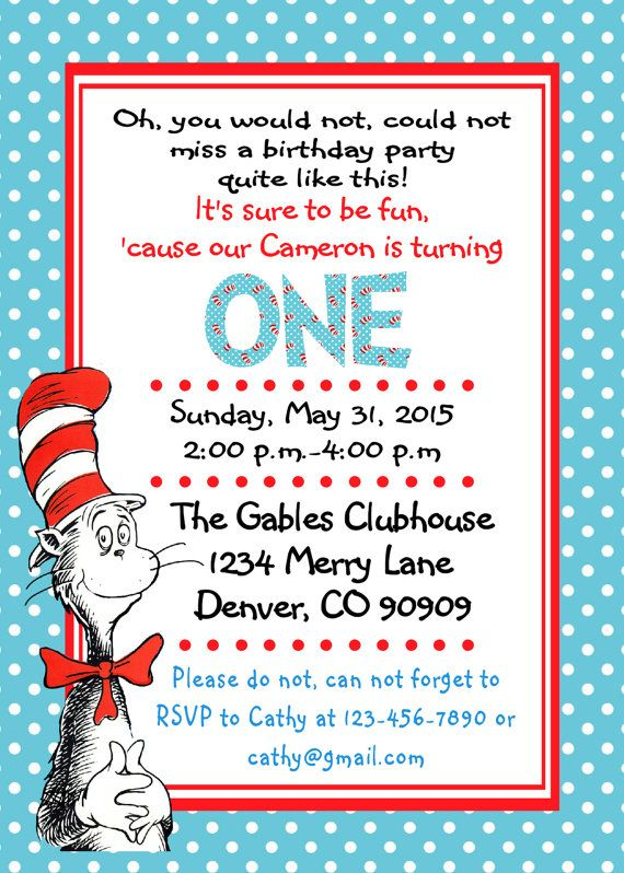 Printable PDF Dr.Seuss Invitations Cat in the Hat birthday baby shower party 1st birthday