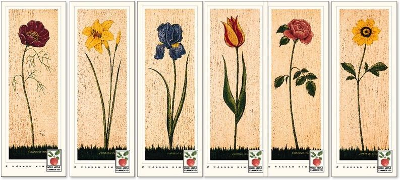 art print s ~FLORAL PANEL SET//6~Warren Kimble~flowers folk day lily rose cosmo