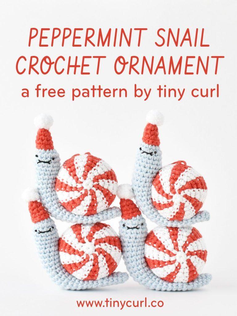 Peppermint Party Snail Ornament | Crochet | Pinterest