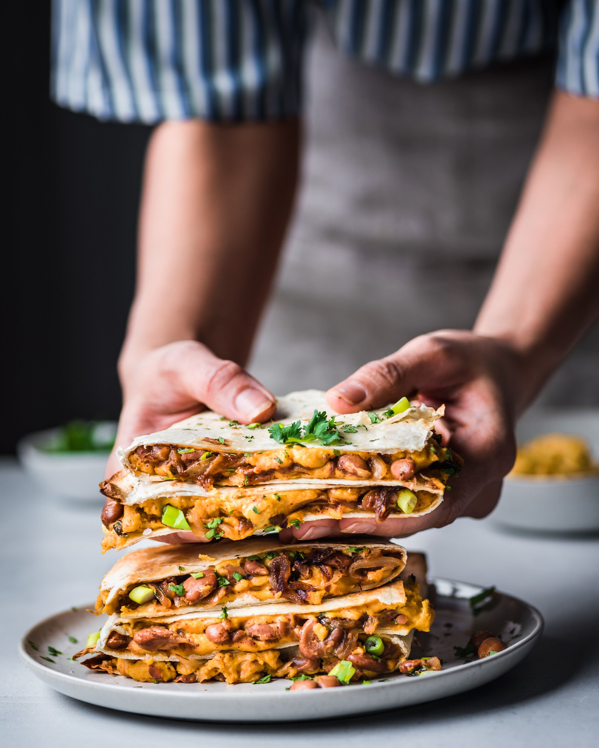 Vegan Quesadillas With Smoky Cheese And Refried Beans Rainbow Plant Life In 2020 Vegan Pantry Recipes Refried Beans