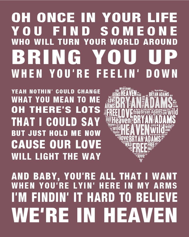 Bryan Adams Heaven Music Song Lyrics Word Art Print Poster W In 2020 Songteksten Film Muziek