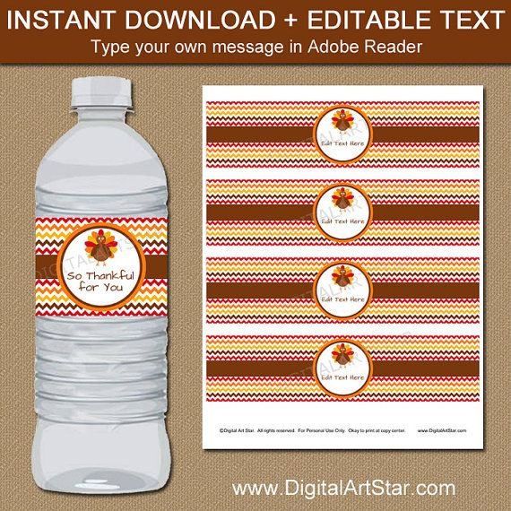 Printable Thanksgiving Water Bottle Label Template To Decorate