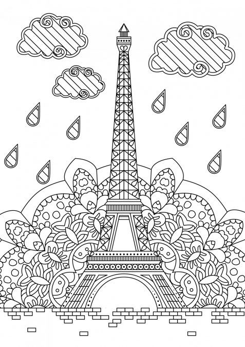 Eiffel Tower With Images Printable Adult Coloring Pages