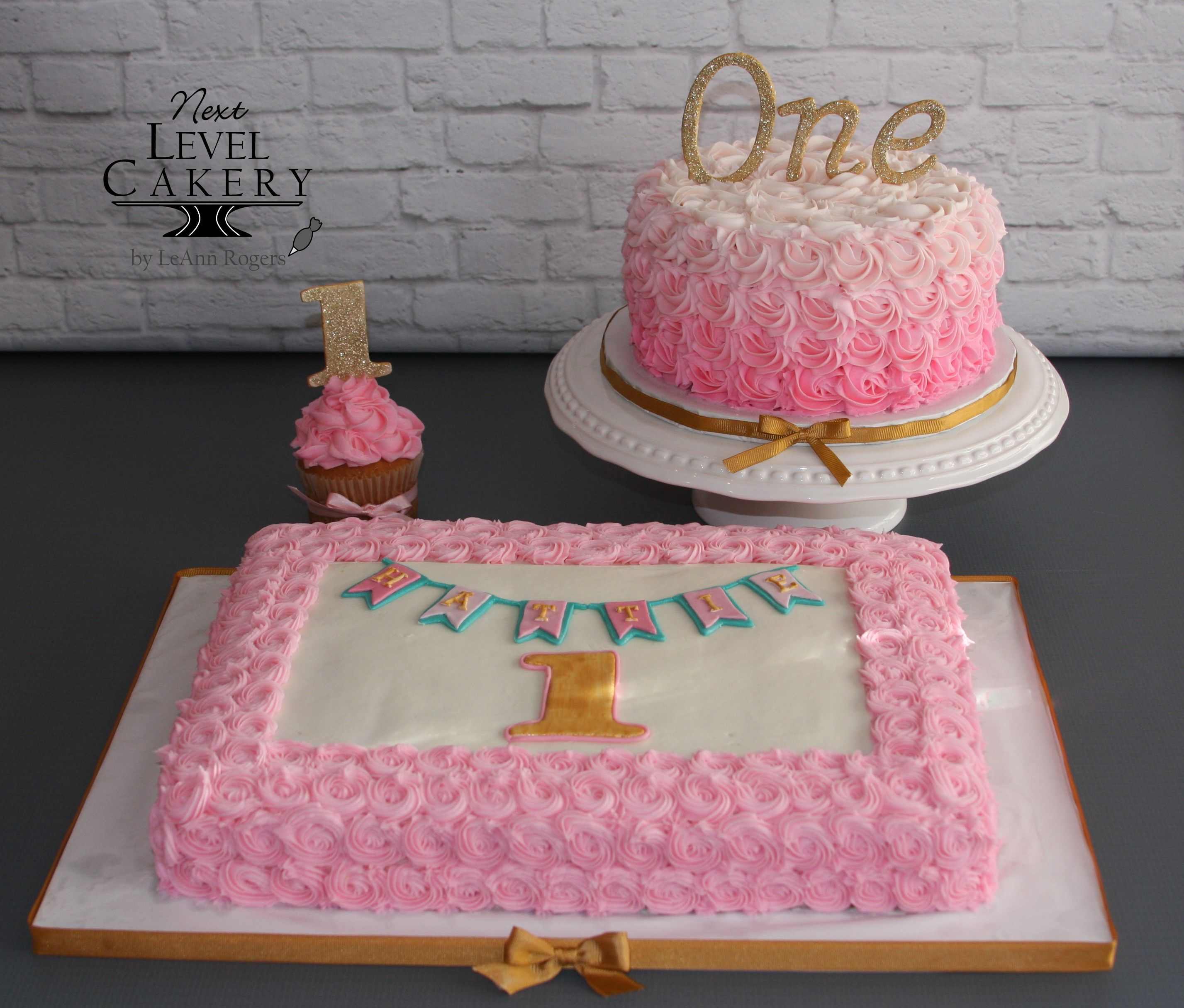 """Glitter Gold And Pink Cakes, Sheet Cake, 8"""" Round Cake"""