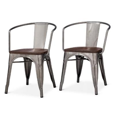Carlisle Metal Dining Chair Distressed Metal Set Of 2 Dining Chairs Metal Dining Chairs Farmhouse Chairs