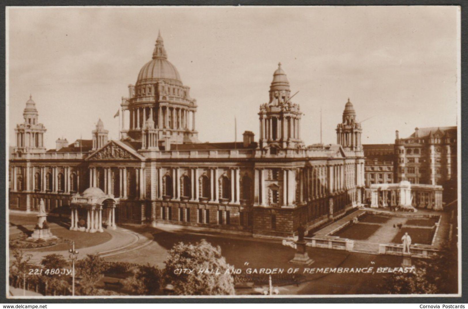 City Hall & Garden of Remembrance, Belfast, 1934 - Valentine\'s RP ...