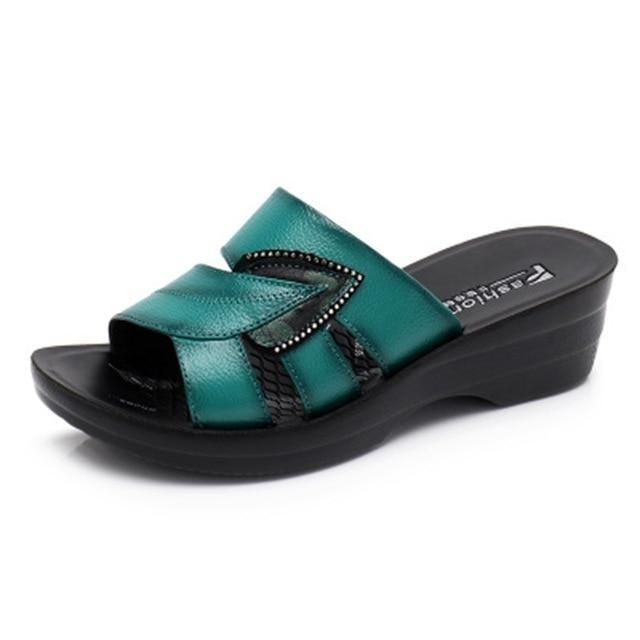 Women Slip On Leather Open Toe Sandals Flip Flops Wedges Platform, green / US 7.5