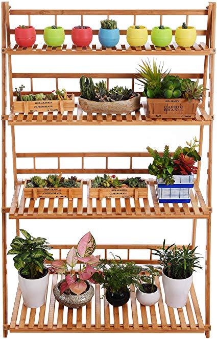 Amazon Com Plant Flower Stand Plant Display Shelf Rack Shelf Bamboo Foldable Pot Racks Planter Storage Rack Display S Flower Stands Planting Flowers Pot Rack