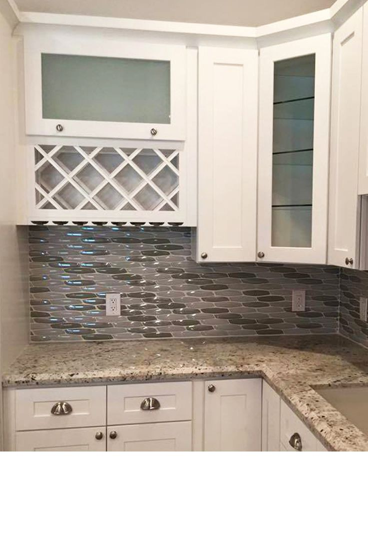 Glass Tile Backsplash Kitchen Remodel Using Yves Silver Mosaic