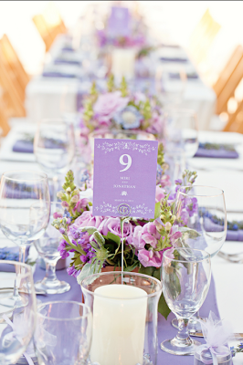 lilac wedding table, like candles and purple