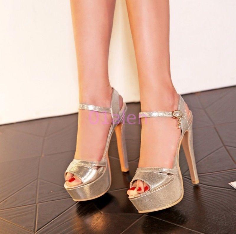Womens Stilettos High Heels Open Toe Shoes Platform Ankle Strap Party Sandals Sz