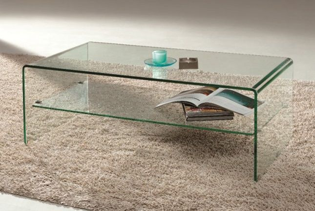 Arch Waterfall Bent Glass Coffee Table With Shelf Coffee Table Coffee Table With Shelf Table