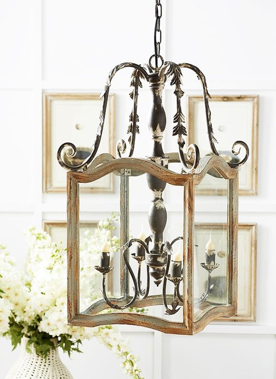 Photo of Rustic Wood and Metal French Country Chandelier