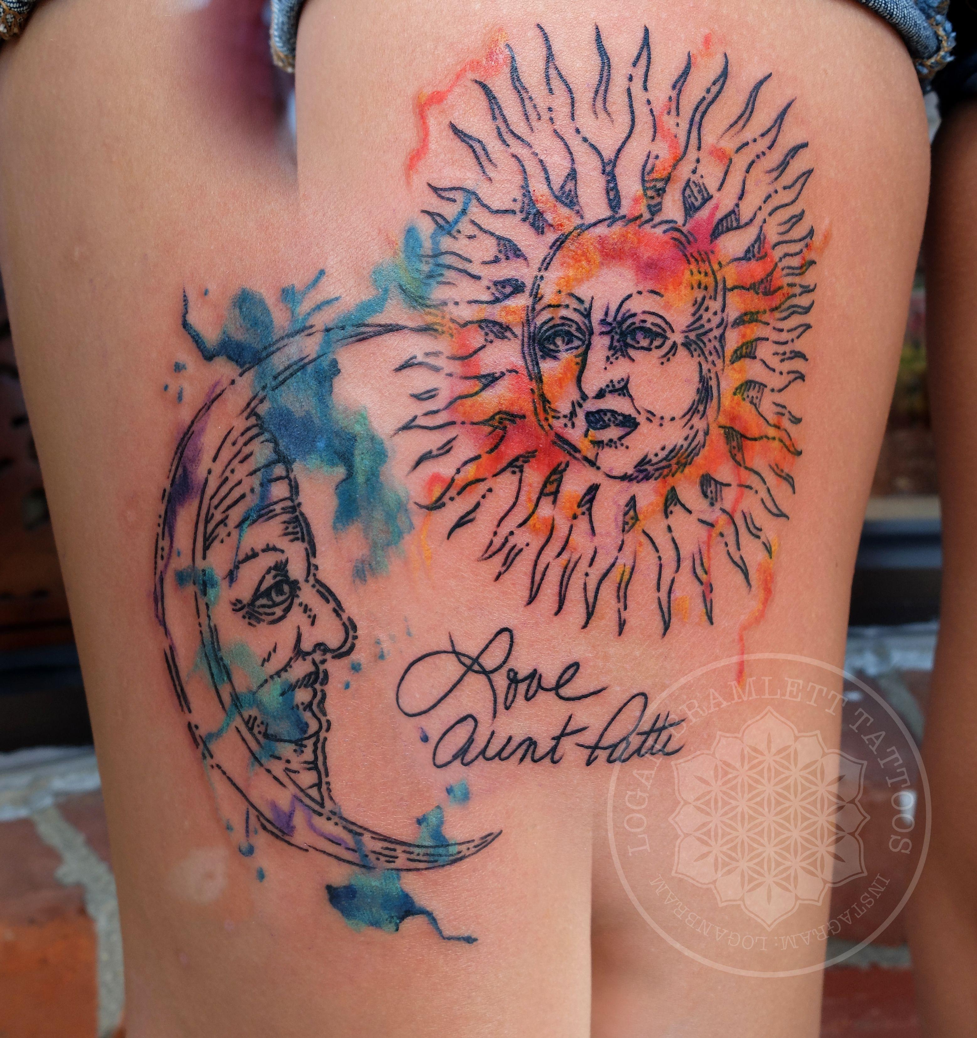 watercolor and wood block sun and moon by logan