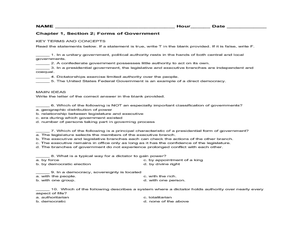 Forms Of Government Ch 1 Worksheet