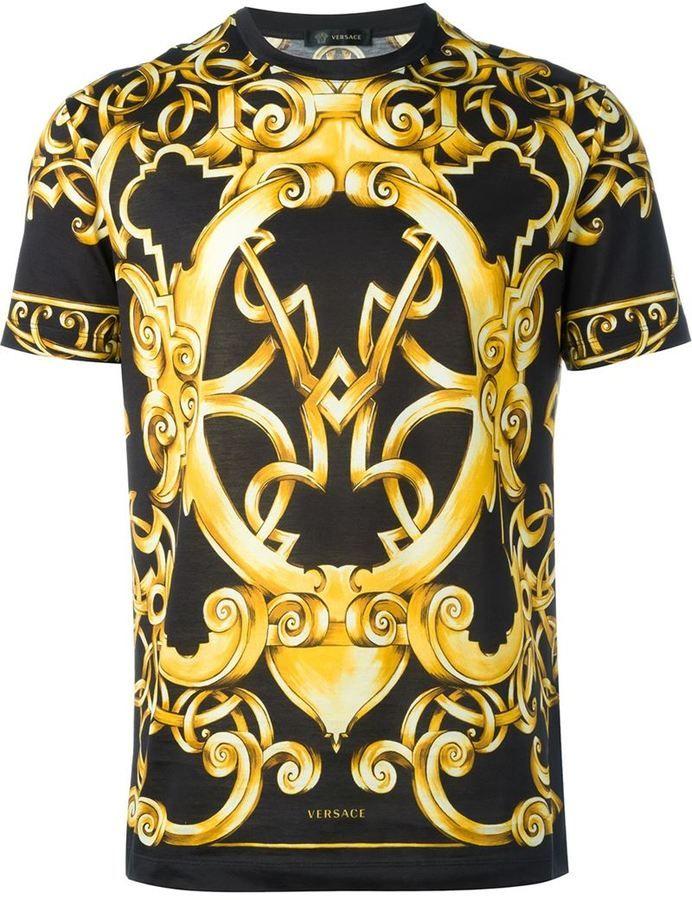 Versace Baroque Print T Shirt Mens Tshirts Versace T Shirt Best T Shirt Designs