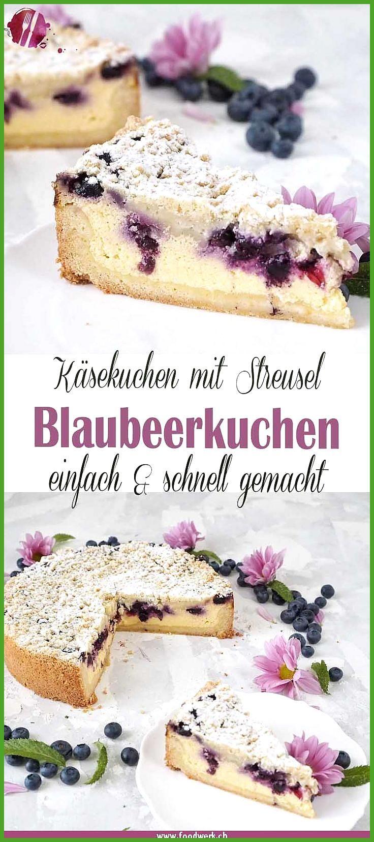 Bester Käsekuchen : Omas gebackene Quarktorte mit Blaubeeren und Streuseln #Bester #Blaubeeren #fitn...